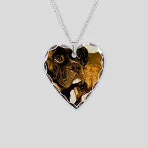 Boxer Dog Friends Necklace Heart Charm
