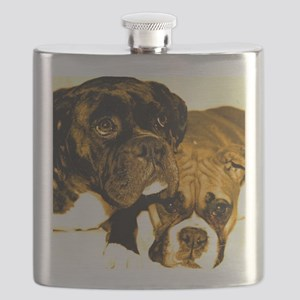 Boxer Dog Friends Flask