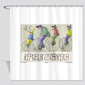 1985 Austria Bicycles Postage Stamp Shower Curtain