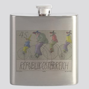 1985 Austria Bicycles Postage Stamp Flask