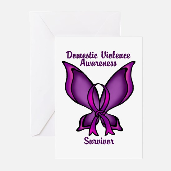 Domestic Violence Awareness Butterfly Ribbon Greet