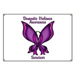 Domestic Violence Awareness Butterfly Ribbon Banne