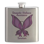 Domestic Violence Awareness Butterfly Ribbon Flask