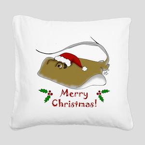 Christmas Stingray Square Canvas Pillow