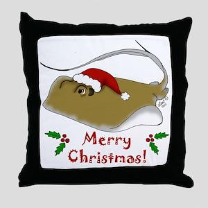 Christmas Stingray Throw Pillow