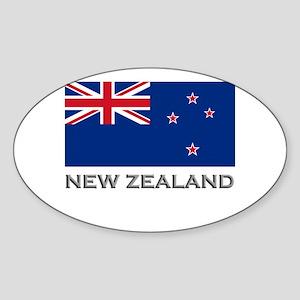 New Zealand Flag Stuff Oval Sticker