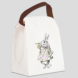 white rabbit 001 Canvas Lunch Bag
