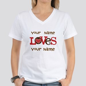 Personalized Love Women's V-Neck T-Shirt