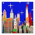 Philadelphia Starry Night Square Car Magnet 3