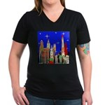 Philadelphia Starry Night Women's V-Neck Dark T-Sh
