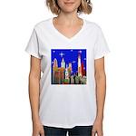 Philadelphia Starry Night Women's V-Neck T-Shirt