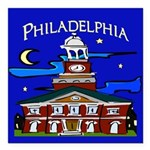 Philadelphia Starry Night Square Car Magnet 3