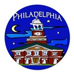 Philadelphia Starry Night Round Car Magnet