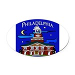 Philadelphia Starry Night Oval Car Magnet