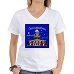 Philadelphia Starry Night Women's V-Neck T-Shirt