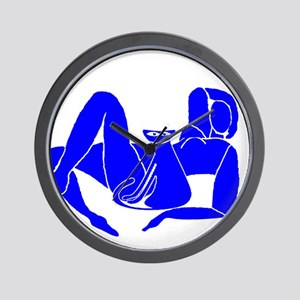Blue Nude With Cat Wall Clock