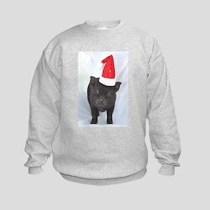 Micro pig with Santa hat Kids Sweatshirt