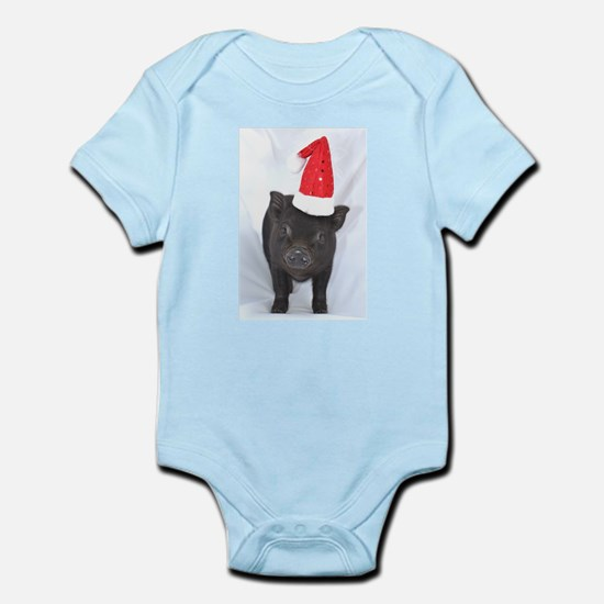 Micro pig with Santa hat Infant Bodysuit
