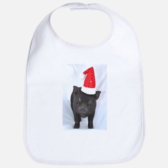 Micro pig with Santa hat Bib