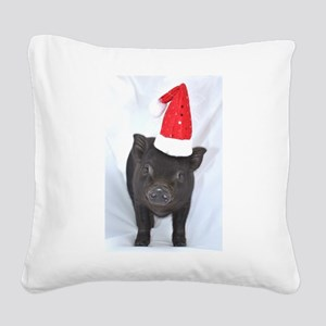 Micro pig with Santa hat Square Canvas Pillow
