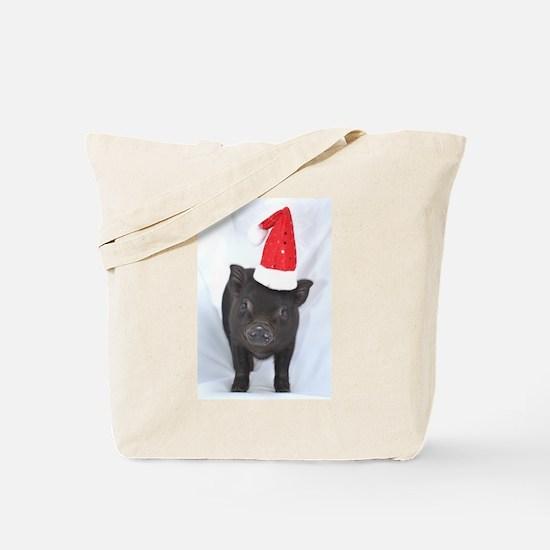 Micro pig with Santa hat Tote Bag