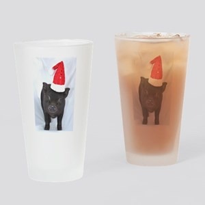 Micro pig with Santa hat Drinking Glass