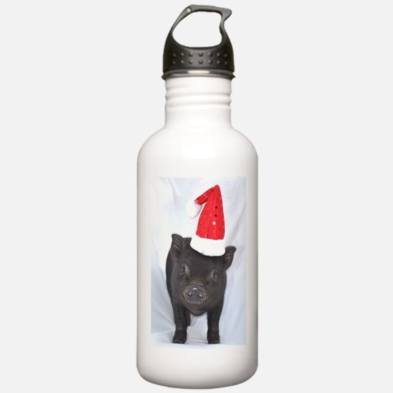 Micro pig with Santa hat Water Bottle
