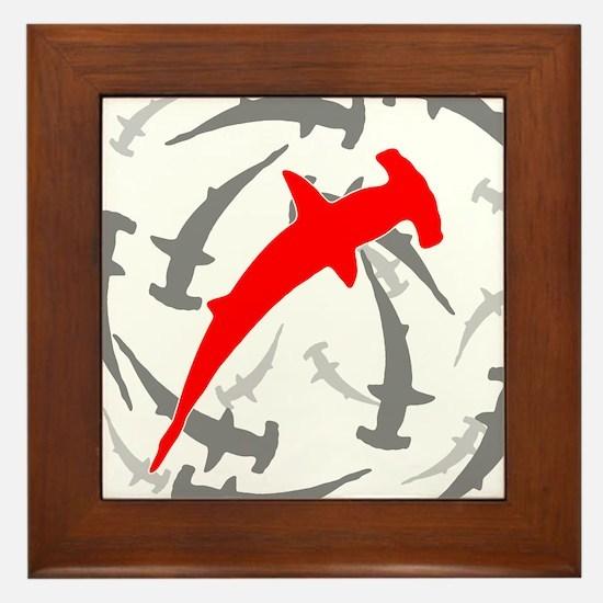 Circling Hammerhead Sharks Framed Tile