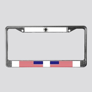 Sqautch in woods License Plate Frame