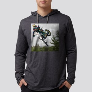 Chasing a Rainbow1 gray bike 11x Mens Hooded Shirt