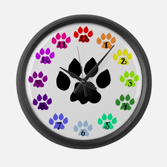 Rainbow Paws Large Wall Clock