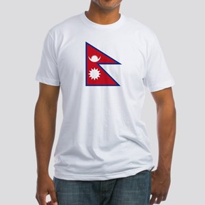 Nepal Flag Picture Fitted T-Shirt