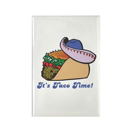 Taco Time (Taco with Sombrero) Rectangle Magnet (1