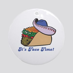 Taco Time (Taco with Sombrero) Ornament (Round)