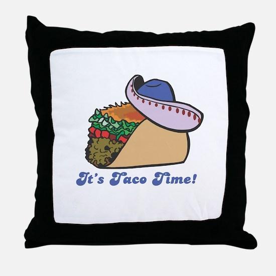 Taco Time (Taco with Sombrero) Throw Pillow