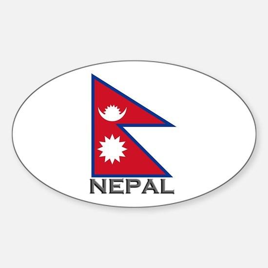 Nepal Flag Stuff Oval Decal