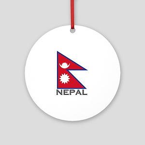 Nepal Flag Stuff Ornament (Round)