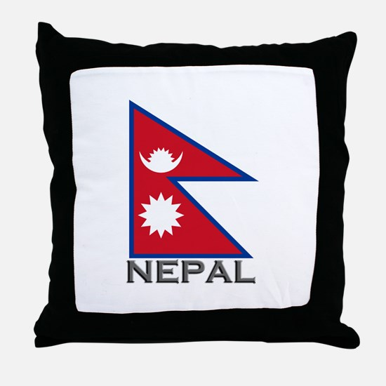 Nepal Flag Stuff Throw Pillow