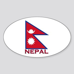 Nepal Flag Gear Oval Sticker