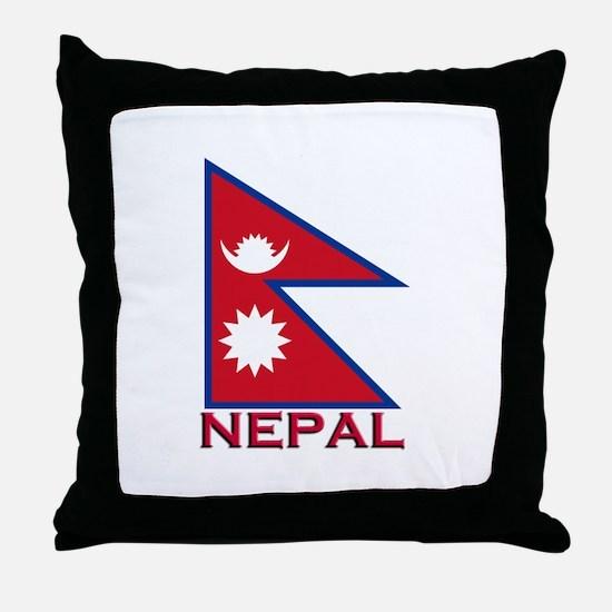 Nepal Flag Gear Throw Pillow