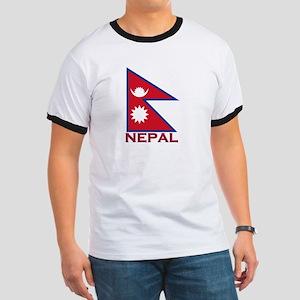 Nepal Flag Gear Ringer T