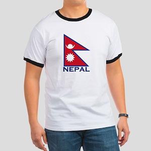 Nepal Flag Merchandise Ringer T