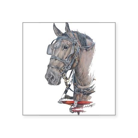 "Percheron Draft horse harness Square Sticker 3"" x"