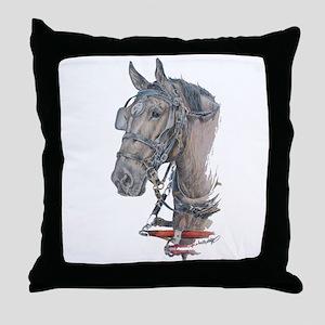 Percheron Draft horse harness Throw Pillow