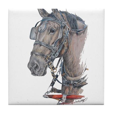 Percheron Draft horse harness Tile Coaster