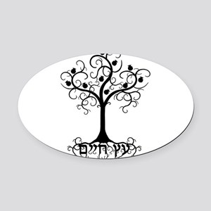 Hebrew Tree of Life Oval Car Magnet