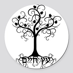 Hebrew Tree of Life Round Car Magnet