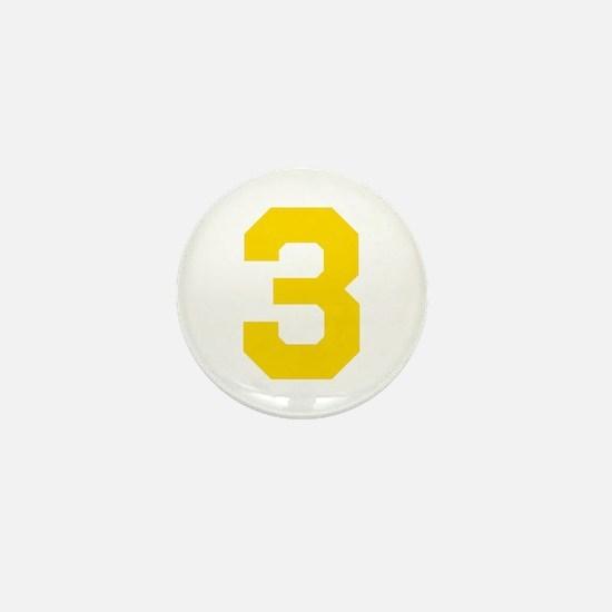 3 YELLOW # THREE Mini Button