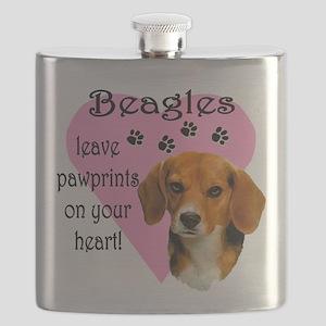 Beagle Pawprints 2 Flask