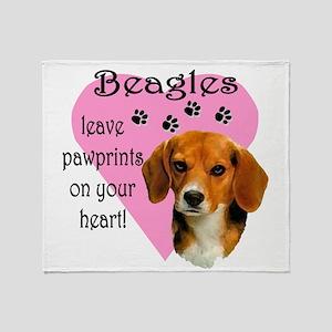 Beagle Pawprints 2 Throw Blanket